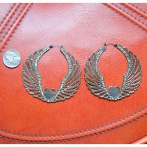 Super Big Betsey Johnson Glam Heart Earrings